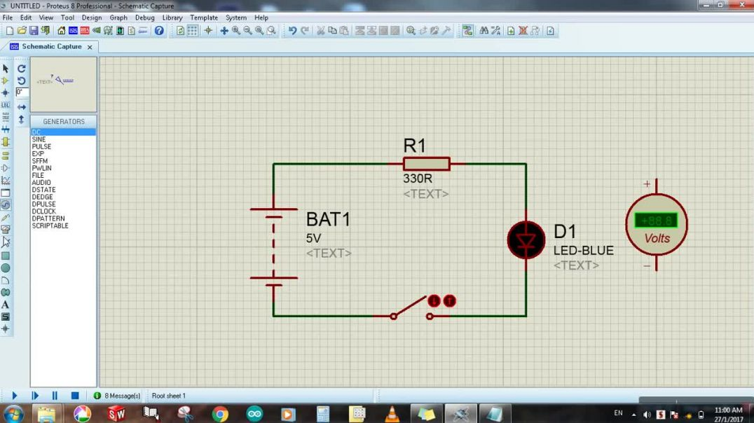 Proteus For beginners Tutorial#1 - Circuit designing, Simulation, and Voltage measuring